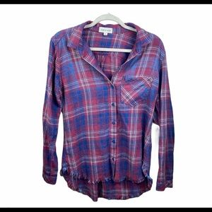 Anthropologie Cloth & Stone Plaid Frayed Top